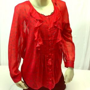 Ann Taylor LOFT M Red Ruffled Front w/ HEARTS